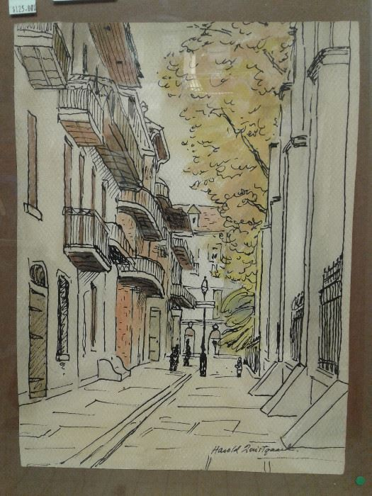 https://www.ebay.com/itm/124540511726	WRG8079 Pirates Alley Harold Louis Tqaard watercolor and ink Pick	Fixed	100