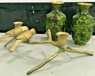 https://www.ebay.com/itm/124551935417KG029 BRONZE BIRD CANDLE HOLDER AND TWIN CLOISONNE VASES Buy-it-Now  $19.99