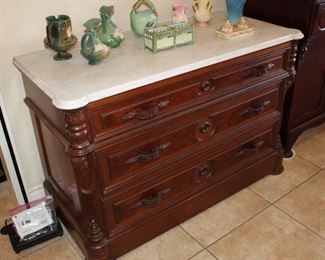 antique marble-top three-drawer chest