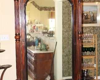 """94"""" late 1800's armoire; drawer on bottom, two drawers inside, with key"""