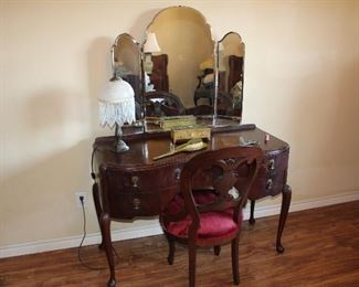 Scottish vanity/ dressing table with three-part mirror