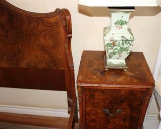 pair nightstands and bed