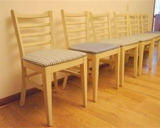 8. MCM Set of Six 6 painted Wooden Dining Chairs