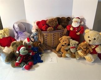 Clearance Lot 1: 16 stuffed animals & a Singing Santa plus a wonderful Longaberger basket, bundle price is $100!