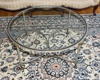 5. Jansen Style Circular Glass Top Metal Coffee Table