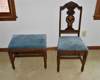 8. Upholstered Wooden Accent Chair and Stool circa 1930s