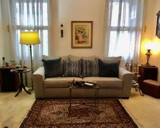 Sofa and Pillows, like new, Rug
