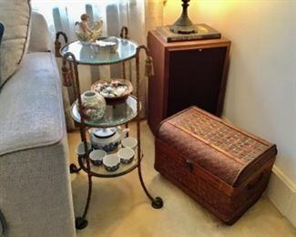 Three tier Shelf, small Trunk, Speakers