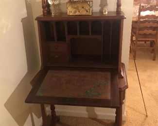 Detail of Victorian Desk with the front open