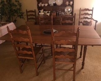 Dining Table and 6 Ladder Back Chairs