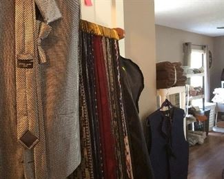 Neckties and a large selection of fancy vests, cummerbunds and bowties