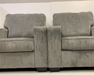 2 large gray chairs
