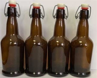 4 brown glass bottles
