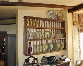 "K102   Antique English plate rack  Height:  38""  Length:  52""  Depth:  13""   $1800"