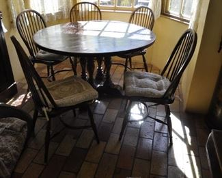 """K103  Antique  54"""" round table with chairs $1800"""
