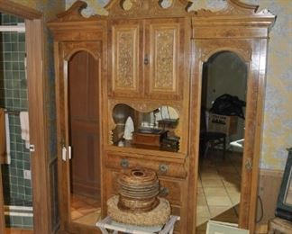 """K108  antique mirrored armoire cabinet  Height:  88""""   Width:  69""""   Depth:  21""""   $1295"""