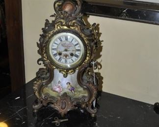 F109 hand painted French bronze mantel clock  $450