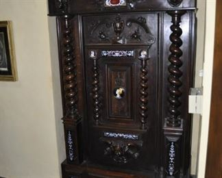 """F110  Antique carved cabinet  Height:  76""""  Width:  44""""  Depth:  27   $4500"""