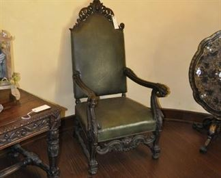 """A130   antique carved library chair $ 1495   Height:  46"""""""