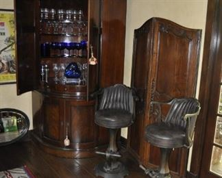 """B111  pair of Raymnd Enkeboll wood and leather bar stools  Height:  42""""    $2500"""