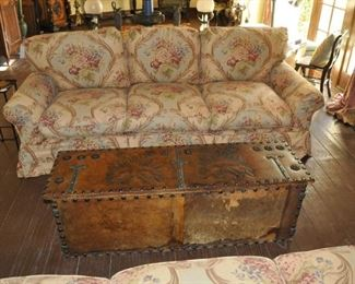 A110  Double Eagle Russian leather trunk with studs   $1800
