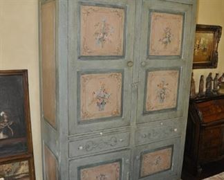 """A104  Hand painted antique armoire   Height:    88""""   Width:  57""""    Depth:  24""""    $   1495"""