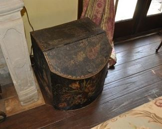 """A113  Tole metal storage container  Ht:  22""""  Width:  19""""  depth:  18""""    $265"""
