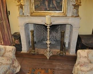 """A112  pair of antique French andirons     Height:  30""""    $2500"""