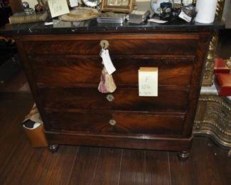 "F106 antique marble top mahogany dresser     Width:  44""    $1200"