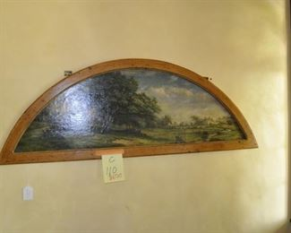 """C110  round top antique oil painting  on canvas   Length:  50""""     Height:  18""""    $650"""