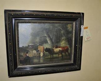 """B131  Antique original oil painting by   M. Moraan    Height:  27""""     Width:  33""""  $495"""