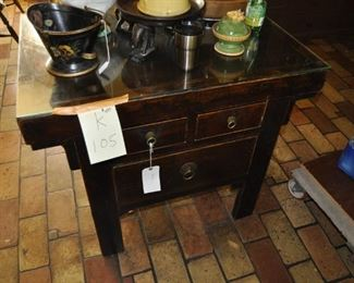 """K105  kitchen island work station with glass top  Width:  39""""  Depth:  28""""  Height:  32""""  $ 495"""
