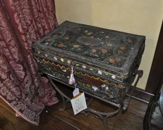 B115  hand painted metal chest  $995