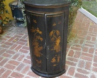 """B118  Chinoiserie cabinet   Height:  41""""  Width:  22""""  $1200"""
