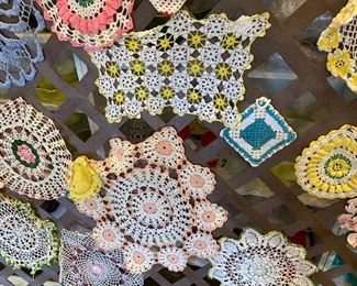 Many hand starched doilies, HUGE amount of clean Linens