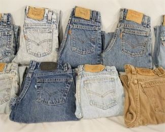 1001LOT OF NINE PAIRS OF VINTAGE USA MADE YOUTH SIZED LEVI STRAUSS & COMPANY JEANS SIX ARE ORANGE TAB, THE OTHERS ARE WHITE, TAN & SILVER. SEVEN PAIRS ARE SIZE 8, TWO ARE SIZE 10. VARYING DEGREES OF WEAR