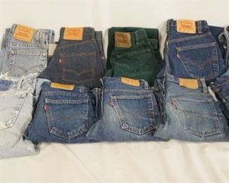 1004LOT OF TEN PAIRS OF VINTAGE USA MADE LEVI STRAUSS & COMPANY JEANS W/ RED TAB. SIZES ARE; 28 X 30, 27 X 30, 27 X 28, 29 X 30, 27 X 34, 34 X 30, 29 X 34, 27 X 27, & TWO PAIRS ARE SIZE 28 X 32. VARYING DEGREES OF WEAR