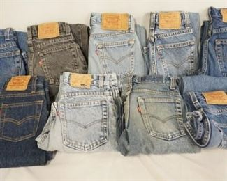 1003LOT OF NINE PAIRS OF VINTAGE USA MADE LEVI STRAUSS & COMPANY JEANS W/ RED TAB. MOST ARE YOUTH SIZED INCLUDING THREE SIZE 10, TWO SIZE 8, ONE SIZE 9 & ONE SIZE 11. THE OTHER TWO ARE 25 X 30 & 27 X 28. VARYING DEGREES OF WEAR