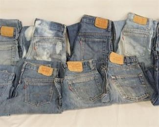 1008LOT OF TEN PAIRS OF VINTAGE USA MADE LEVI STRAUSS & COMPANY JEANS W/ RED TABS. SIZES ARE; 25 X 32, 25 X 30, 29 X 33, 28 X 31, THREE PAIRS ARE SIZE 28 X 30 & THREE ARE SIZE 28 X 34. VARYING DEGREES OF WEAR