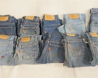 1009LOT OF TEN PAIRS OF VINTAGE USA MADE LEVI STRAUSS & COMPANY JEANS W/ ORANGE TABS. ALL ARE YOUTH SIZES; 14, TWO ARE SIZE 11, THREE ARE SIZE 12 & FOUR ARE SIZE 9. VARYING DEGREES OF WEAR