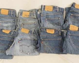1010LOT OF EIGHT PAIRS OF VINTAGE USA MADE LEVI STRAUSS & COMPANY JEANS ALL HAVE A RED TAB. INCLUDING THREE 501 SIZES 30 X 34 & TWO ARE SIZE 33 X 36. FOUR 505 SIZES 34 X 32, 30 X 31, 33 X 34 & 33 X 33. ONE PAIR OF 517 SIZE 30 X 32. VARYING DEGREES OF WEAR