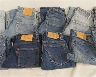 1011LOT OF TEN PAIRS OF VINTAGE LEVI STRAUSS & COMPANY JEANS W/ RED TABS. SIZES ARE; 29 X 33, 29X 30, 29 X 34, 27 X 30, 27 X 28, 27 X 29, TWO ARE SIZE 27 X 32 & TWO ARE SIZE 28 X 30. VARYING DEGREES OF WEAR