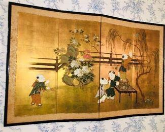 four paneled Asian screen