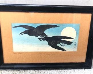 "Japanese woodblock of crows & full moon by Ohara Koson (aka Shoson 1877-1945) Circa 1930s, framed size 22"" x 15"""
