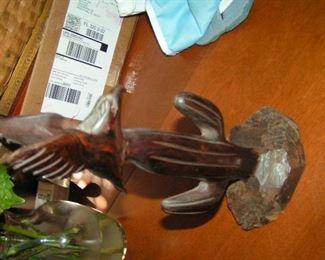 iron wood bird on cactus