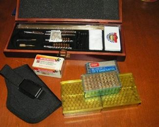 gun cleaning kit plus 22 ca.  ammo and small gun case