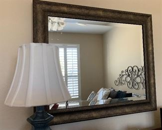 $125- Large  beveled mirror with antique gold frame