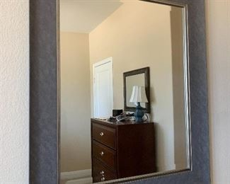 $115- Large beveled mirror with grey frame