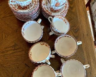 """$240; Copeland Spode """"Indian Tree"""" cups and saucers; 16 cups; 24 saucers"""