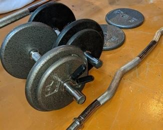 free weights, barbell, dumbbells